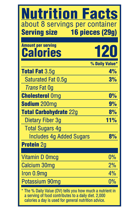 Wheat Thins Reduced Fat Whole Grain Wheat Crackers Nutrition